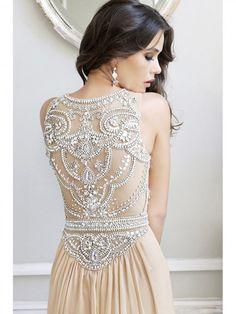 A-line/Stile Principessa Scoop Sweep / treno pennello Senza Maniche Perline Sequin Chiffon Tulle Dress