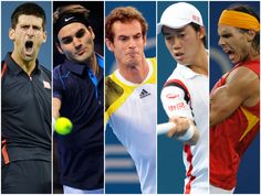 1.Novak Djokovic 2.Roger Federer 3.Andy Murray 4.Kei Nishikori 5.Rafael Nadal. Foto:Archivo