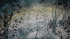 In the grove ink, pastel and watercolour