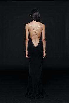 Long Plunge Dress - Black
