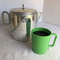 These vintage plastic coffee cups are great for cool mornings around the campfire, kettle also available!!