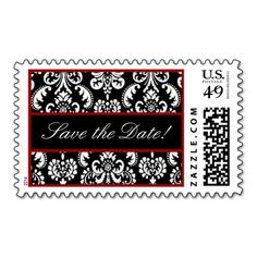 Black White Red Heart Damask Wedding Stamp #wedding #stamps #love #marriage #romance #bride #groom #jaclinart #love #postage #red #black #white #heart #damask