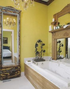 Use an old door to frame a mirror. Can be used anywhere in a house. Use an old door to frame a mirror. Can be used anywhere in a house. Use an old door to frame a mirror. Can be used anywhere in a house. Yellow Bathrooms, Dream Bathrooms, Beautiful Bathrooms, Flea Market Decorating, Interior Decorating, Diy Home, Home Decor, Bathroom Pictures, Fireplace Mantle