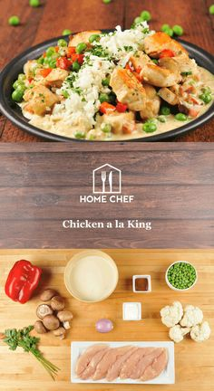 """Not named after the REAL """"King"""", Elvis Presley, this comfort classic is named after Bill King, the line cook who worked at a Pennsylvania hotel in the 1890s. Our healthier version of Bill's creation will warm your heart with tender chunks of chicken and vegetables bathed in a rich, creamy sauce. Cauliflower """"rice"""" makes this meal unique, even more delicious, and gluten free! #TCB"""