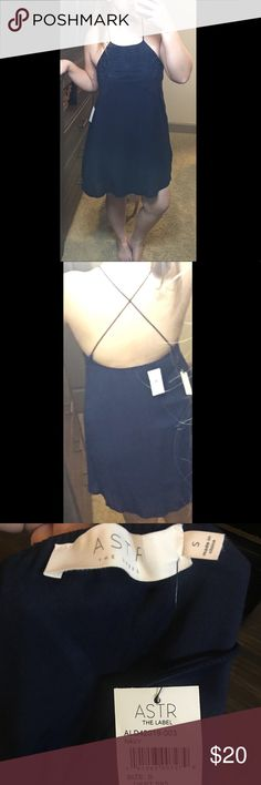 NWT Navy Blue Spaghetti Strap Dress Embroidered Really great detailing on the top & bottom of this dress! Extremely forgiving in size. I'm usually a medium/large and I am wearing a small. Astr Dresses Midi