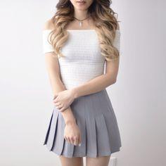 Pleated Tennis Skirt - Grey