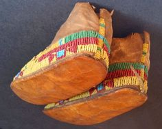 ARAPAHO Child's Beaded Hide Moccasins C 1880s | eBay