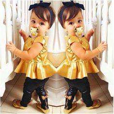 Fashion Kids Baby Girls Shirt Dress + Legging Pants Set Clothes Outfits Y Fashion Kids, Little Girl Fashion, Toddler Fashion, Fashion Clothes, Friends Fashion, Cheap Fashion, Dress Fashion, New Baby Girls, Baby Kids