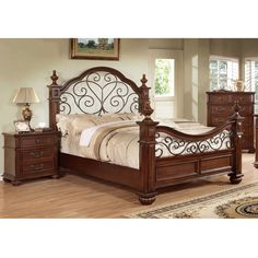 Furniture of America Barath Antique Dark Oak Wood and Metal Poster Bed   Overstock.com Shopping - Great Deals on Furniture of America Beds