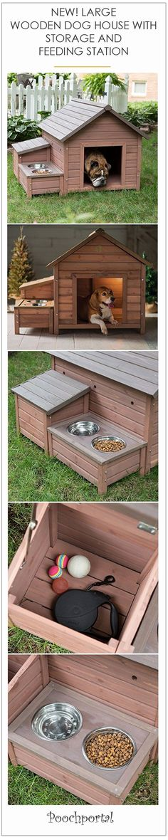New! Large outdoor wooden dog house with storage box a feeding/drinking station.