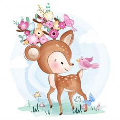 cute little deer with bird, Watercolor, Birthday, Baby PNG and Vector Cute Animal Illustration, Watercolor Illustration, Crown Illustration, Cute Images, Cute Pictures, Cartoon Mignon, Baby Animals, Cute Animals, Art Mignon