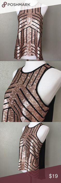 NWT Francesca's Sequin Rose Gold Black Tank Top Beautiful brand new top from Francesca's size small.  Item is in excellent condition with no flaws! Please check out my other listings as I do offer a bundle discount, I love offers! Francesca's Collections Tops Tank Tops