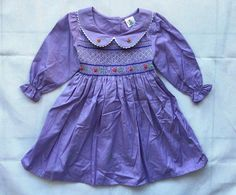 Girl's Hand-Made Embroidered Peter Pan Collar Dress w White Scallop Edge Purple
