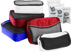 Packing Cubes 5pcs - 1 Large, 2 Medium, 2 Slim Cubes + 6pcs Zip Bags Organizers, Complete Cubes Set for any Travel