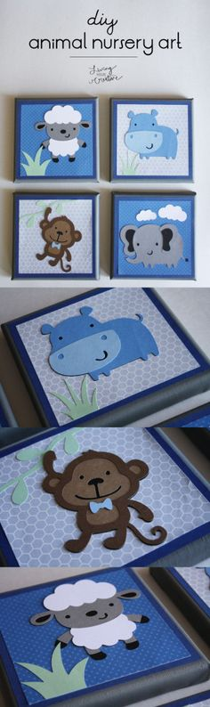 Add a cute touch to your baby's nursery with these adorable animal nursery canvases from Living YOUR Creative - using the Cricut Create a Critter cartridge!