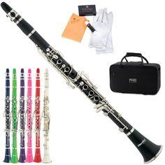 Mendini Black Blue Green Pink Purple Red White Bb Clarinet +CareKit+11Reeds+Case #white #clarinet #carekit #case #purple #pink #black #blue #green #mendini