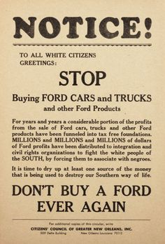 """Citizens' Council of Greater New Orleans broadside calling """"all White citizens"""" to boycott Ford Motor Co. because of Ford's support of the Civil Rights movement. New Orleans, Louisiana, United States. Circa 1963."""