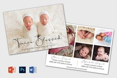 Twin Birth Announcement Template | Newborn Announcement template | Birth announcement card | Birth announcement printable, Baby Announcement Twin Birth Announcements, It's A Boy Announcement, Birth Announcement Template, Recipe Book Templates, Card Making Templates, Journal Cards, Gender Neutral, Step Guide, Printable