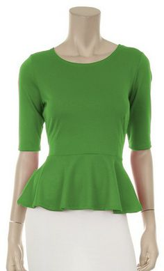 Modest Half Sleeve Solid Peplum Blouse with High Neckline available in  kelly green 47cfbb3634c