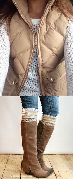 Tan vest over winter white sweater