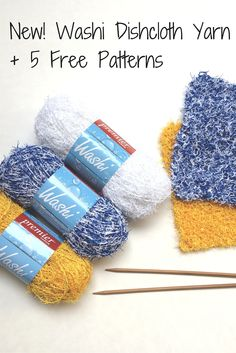 Dirty Dishes? Make some easy DIY dishcloths to knit or crochet featuring Premier Washi Dishcloth Yarn. Machine washable and the texture really helps clean! Comes in 14 kitchen-happy colors and 5 free patterns.