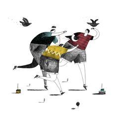 """"""" 3 copains chassant les oiseaux du loup-garou"""" - Robert Sae-Heng (Royaume-Uni)"""
