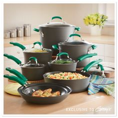 Exclusive to Ginny's ~ Get cookin' just like Rachael Ray with her dishwasher-safe Hard-Anodized Nonstick Cookware Sets in Fennel. ~ www.ginnys.com