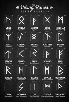 Viking Tattoos Discover Viking Runes Canvas Print by innasoyturk Viking Runes Elder Futhark Alphabet Millions of unique designs by independent artists. Find your thing. Elder Futhark Alphabet, Alphabet Symbols, Viking Runes Alphabet, Elder Futhark Runes, Glyphs Symbols, Witches Alphabet, Tattoo Alphabet, Sign Language Alphabet, Simbolos Tattoo
