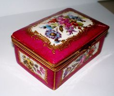 Antique French Sevres- Style Porcelain Box with Ormolu Mounts  circa 1890