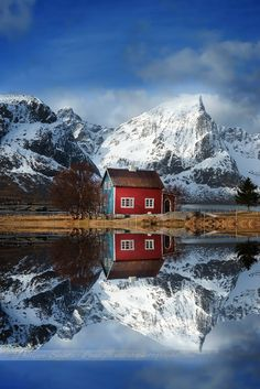 Winter reflections (Lofoten Norway) by Philippe Sainte-Laudy. Relax with these backyard landscaping ideas and landscape design. Beautiful Norway, Beautiful World, Beautiful Places, Lofoten, Places To Travel, Places To See, Voyage Europe, Out Of This World, Winter Scenes