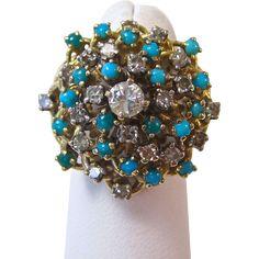 Vintage Estate 1950's Diamond & Turquoise Engagement Birthstone Wedding Dinner Ring 14K Yellow Gold