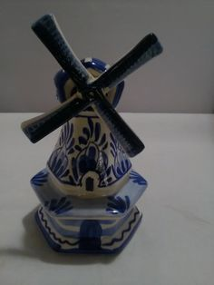 Your place to buy and sell all things handmade Flower Spray, Blue Pottery, Delft, Small Flowers, Windmill, Shades Of Blue, Blue And White, Etsy Shop, Ornaments