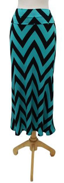Teal and Black Chevron Maxi Skirt