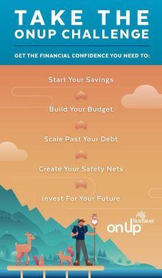 Make this the year you achieve these financial resolutions and more. Take The onUp Challenge and start your journey toward financial confidence. Financial Goals, Financial Planning, Mo Money, Stress Relief Tips, Money Challenge, Budgeting Money, Money Matters, Money Management, Money Saving Tips