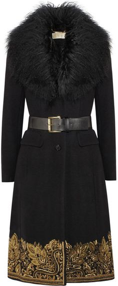 MICHAEL KORS Shearling Trimmed Embroidered Wool Blend Coat