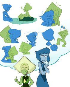 Peridot and Lapis Lazuli Steven Universe Peridot, Steven Universe Ships, Steven Universe Funny, Lapidot, My Little Pony, Lapis And Peridot, Amethyst, Pokemon, Universe Art