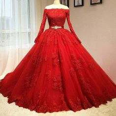 2017 Custom Made Red Lace Prom Dress, Long Sleeves Evening Dress, Off The Shoulder Party Gown,Luxury Beaded Prom Dress,High Quality