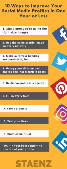 Learn how you can improve your Social Media Profile using these amazing 10 ways in very less time. To learn more about Social Media Marketing visit the website. . #SMM #Marketing #Instagram #Pinterest #Facebook #Twitter #SocialMedia #SocialMediaMarketing #StaenzAcademy