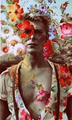 David Bowie With Flower Fan Art Collage Fabric Block -Buy Any 2, Get 3Rd Free!