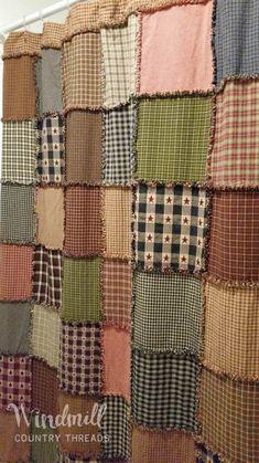 Custom Shower Curtains, Fabric Shower Curtains, Quilted Curtains, Farmhouse Shower Curtain, Country Shower Curtains, Rustic Bathroom Decor, Bathroom Ideas, Rustic Shower, Bathroom Colors