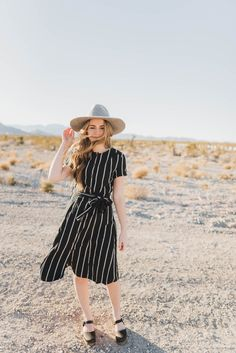 The taylor striped midi dress in black. Modest Outfits ... dbdda5ad0