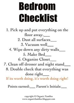 cleaning bedroom checklist. Forget kids, Im pinning this as a checklist to keep my dorm clean.