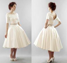 tea length wedding dress with sleeves