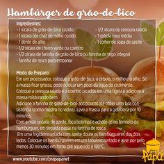 Receita de hambúrguer de grão-de-bico sem carne do Prapapá. Aprenda em: https://youtu.be/I3dUzhZZzhU