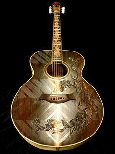 """Blueberry """"Floral"""" Motif Acoustic Guitar A gorgeous rosewood-top """"Floral"""" motif grand concert guitar. Guitar Hero, Music Guitar, Cool Guitar, Playing Guitar, Guitar Diy, Custom Acoustic Guitars, Custom Guitars, Fender Acoustic, Unique Guitars"""