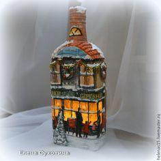 Купить Бутылка-светильник Рождественское чудо-4 Декупаж. Домик рождественский - коричневый, бутылка