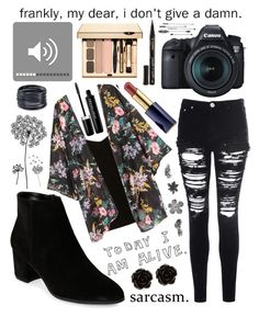 """""""Untitled #228"""" by mcrsarah ❤ liked on Polyvore featuring Franco Sarto, Glamorous, T By Alexander Wang, H&M, Eos, Franklin, jcp, Erica Lyons, ABS by Allen Schwartz and Estée Lauder"""