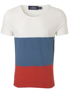 Off white, burgundy & blue colour block scoop neck t-shirt. #Topman