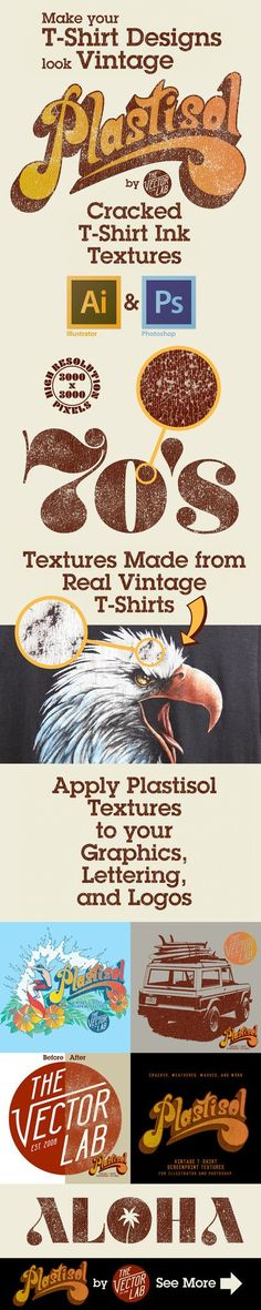 http://thevectorlab.com/products/plastisol-vintage-t-shirt-textures?utm_content=bufferb3f19&utm_medium=social&utm_source=pinterest.com&utm_campaign=buffer Plastisol Cracked T-Shirt Ink Textures for Photoshop and Illustrator