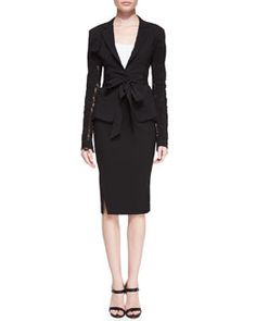 -5FC6 Donna Karan Lace-Detail Belted Blazer and Slit-Hem Scissor Skirt